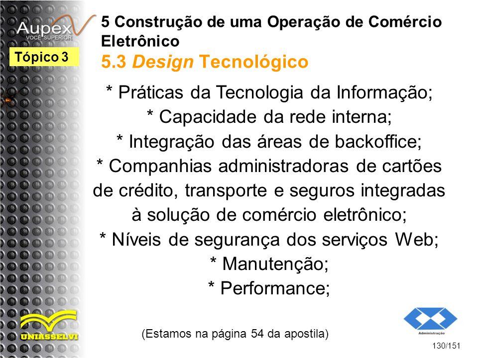5 Construção de uma Operação de Comércio Eletrônico 5.3 Design Tecnológico * Práticas da Tecnologia da Informação; * Capacidade da rede interna; * Int