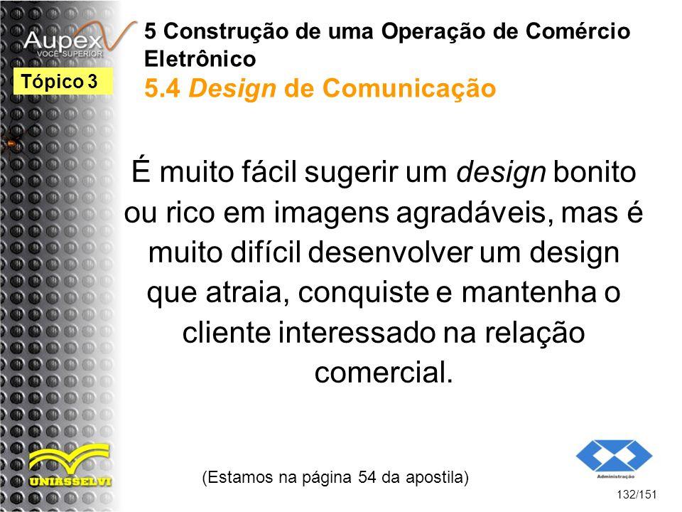 5 Construção de uma Operação de Comércio Eletrônico 5.4 Design de Comunicação É muito fácil sugerir um design bonito ou rico em imagens agradáveis, ma