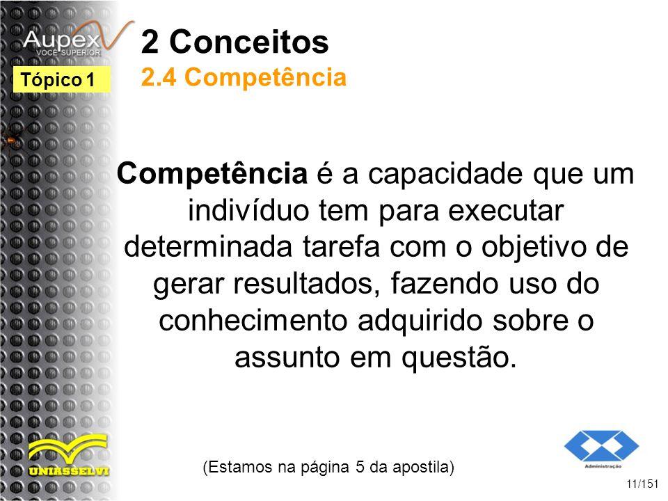 2 Conceitos 2.4 Competência Competência é a capacidade que um indivíduo tem para executar determinada tarefa com o objetivo de gerar resultados, fazen