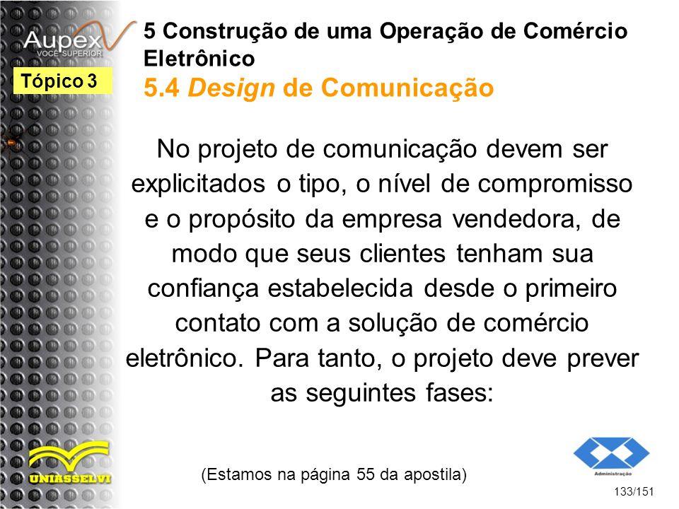 5 Construção de uma Operação de Comércio Eletrônico 5.4 Design de Comunicação No projeto de comunicação devem ser explicitados o tipo, o nível de comp