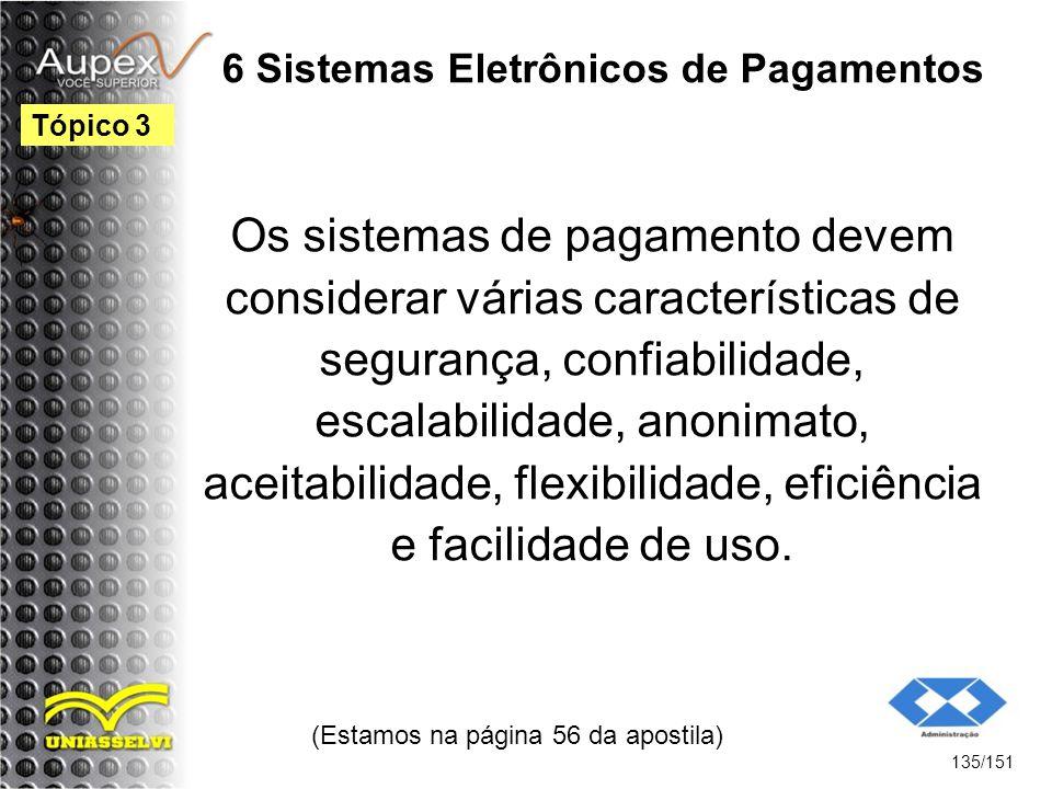 6 Sistemas Eletrônicos de Pagamentos Os sistemas de pagamento devem considerar várias características de segurança, confiabilidade, escalabilidade, an