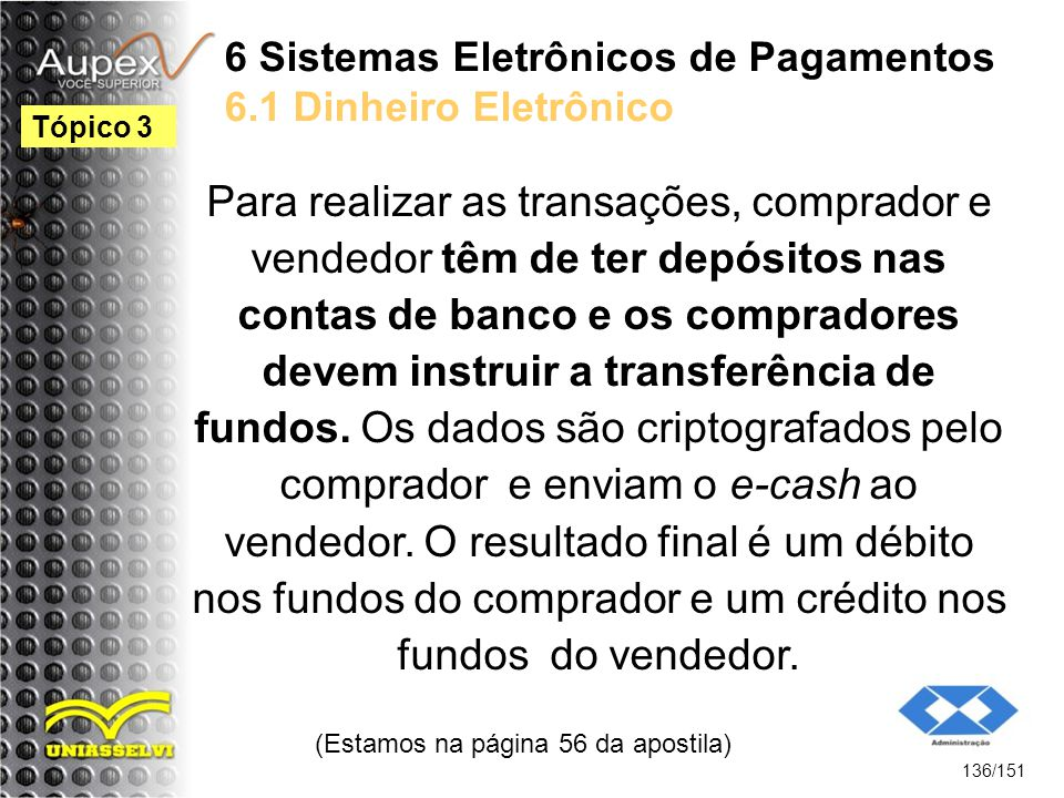 6 Sistemas Eletrônicos de Pagamentos 6.1 Dinheiro Eletrônico Para realizar as transações, comprador e vendedor têm de ter depósitos nas contas de banc
