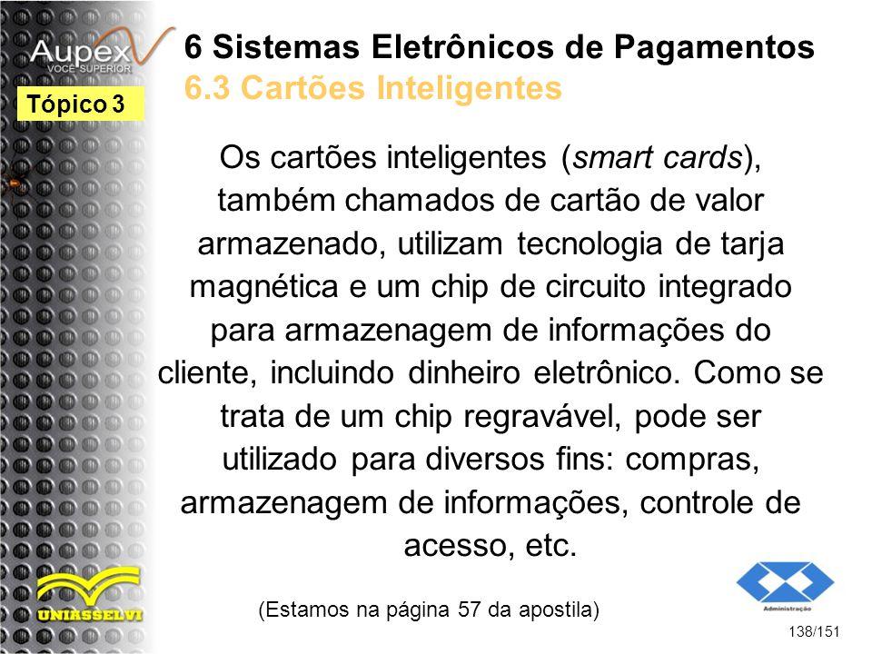 6 Sistemas Eletrônicos de Pagamentos 6.3 Cartões Inteligentes Os cartões inteligentes (smart cards), também chamados de cartão de valor armazenado, ut