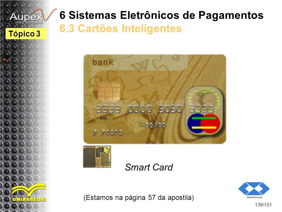 6 Sistemas Eletrônicos de Pagamentos 6.3 Cartões Inteligentes Smart Card (Estamos na página 57 da apostila) 139/151 Tópico 3