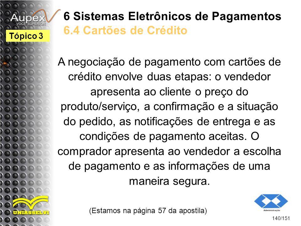 6 Sistemas Eletrônicos de Pagamentos 6.4 Cartões de Crédito A negociação de pagamento com cartões de crédito envolve duas etapas: o vendedor apresenta