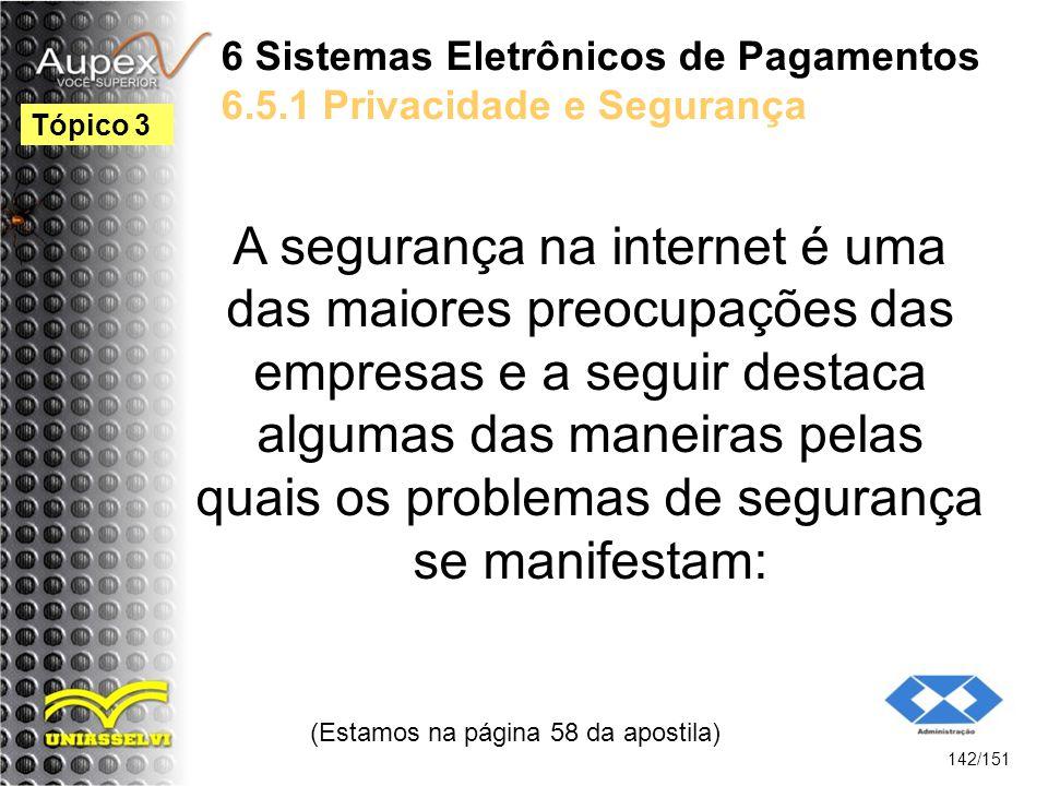 6 Sistemas Eletrônicos de Pagamentos 6.5.1 Privacidade e Segurança A segurança na internet é uma das maiores preocupações das empresas e a seguir dest
