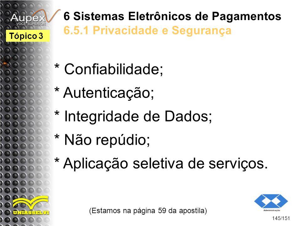 6 Sistemas Eletrônicos de Pagamentos 6.5.1 Privacidade e Segurança * Confiabilidade; * Autenticação; * Integridade de Dados; * Não repúdio; * Aplicaçã