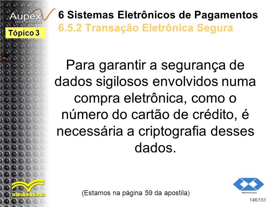 6 Sistemas Eletrônicos de Pagamentos 6.5.2 Transação Eletrônica Segura Para garantir a segurança de dados sigilosos envolvidos numa compra eletrônica,