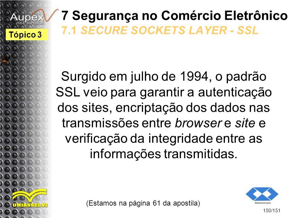 7 Segurança no Comércio Eletrônico 7.1 SECURE SOCKETS LAYER - SSL Surgido em julho de 1994, o padrão SSL veio para garantir a autenticação dos sites,
