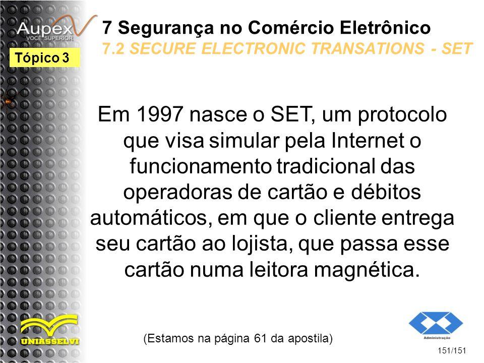 7 Segurança no Comércio Eletrônico 7.2 SECURE ELECTRONIC TRANSATIONS - SET Em 1997 nasce o SET, um protocolo que visa simular pela Internet o funciona