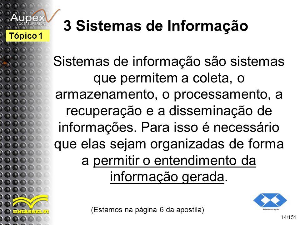 3 Sistemas de Informação Sistemas de informação são sistemas que permitem a coleta, o armazenamento, o processamento, a recuperação e a disseminação d