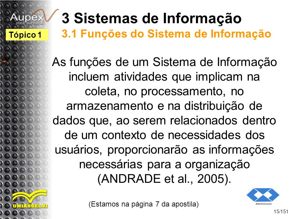 3 Sistemas de Informação 3.1 Funções do Sistema de Informação As funções de um Sistema de Informação incluem atividades que implicam na coleta, no pro