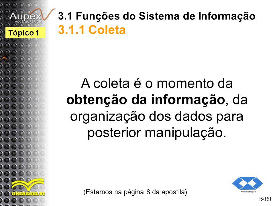 3.1 Funções do Sistema de Informação 3.1.1 Coleta A coleta é o momento da obtenção da informação, da organização dos dados para posterior manipulação.
