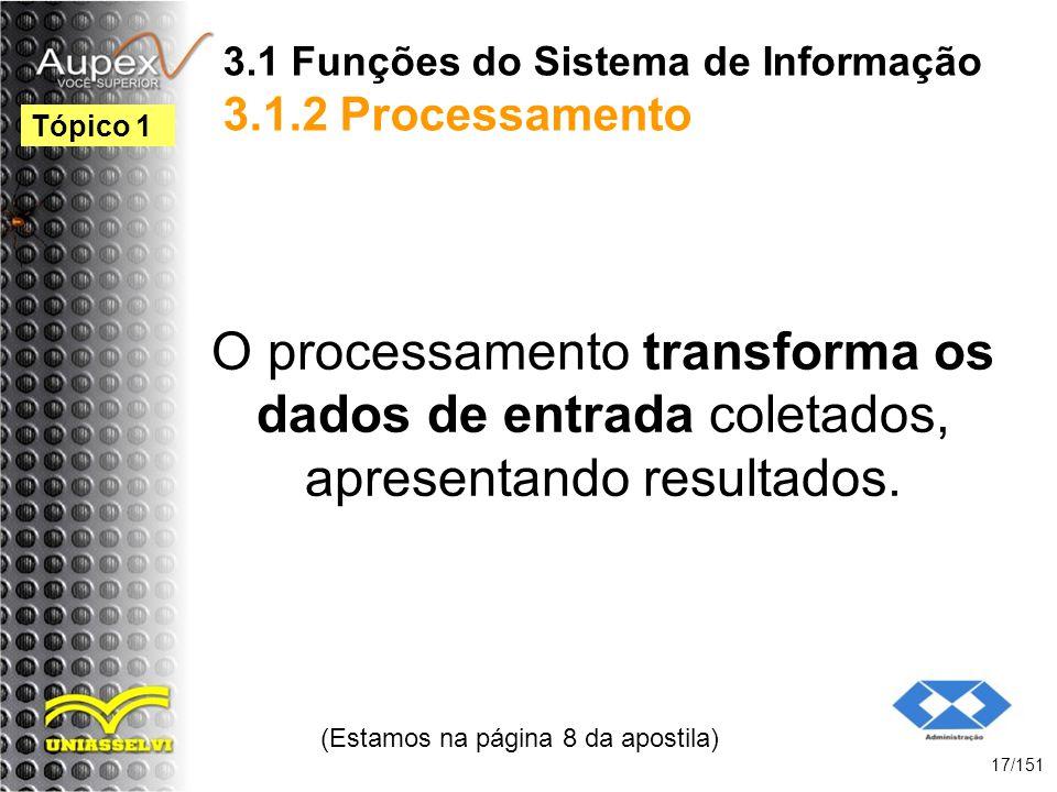3.1 Funções do Sistema de Informação 3.1.2 Processamento O processamento transforma os dados de entrada coletados, apresentando resultados. (Estamos n