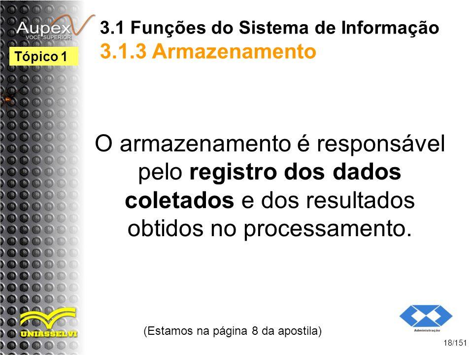 3.1 Funções do Sistema de Informação 3.1.3 Armazenamento O armazenamento é responsável pelo registro dos dados coletados e dos resultados obtidos no p