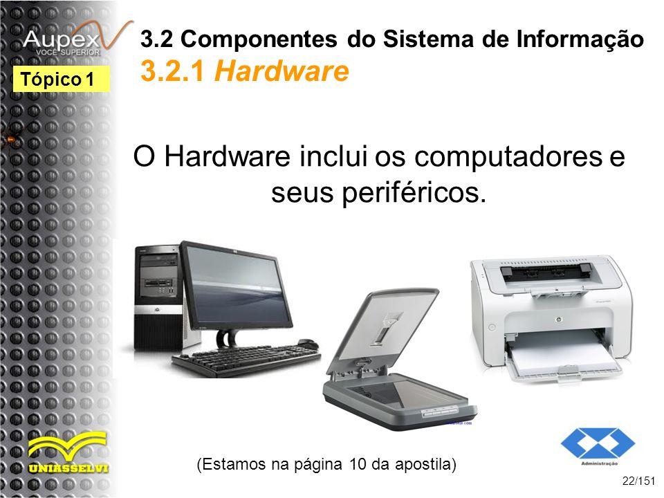 3.2 Componentes do Sistema de Informação 3.2.1 Hardware O Hardware inclui os computadores e seus periféricos. (Estamos na página 10 da apostila) 22/15