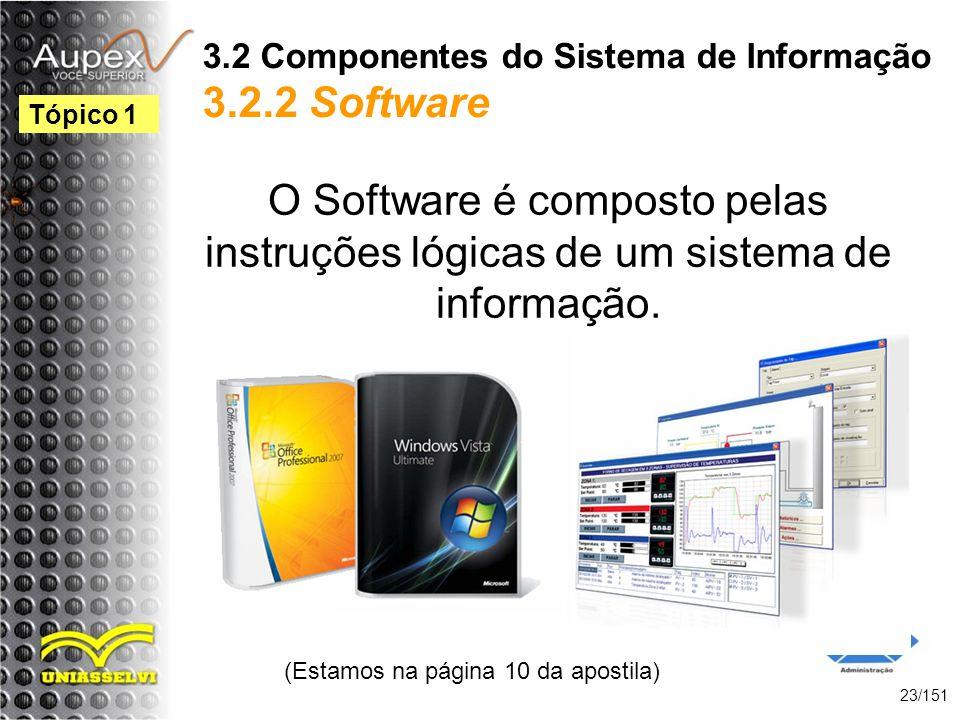 3.2 Componentes do Sistema de Informação 3.2.2 Software O Software é composto pelas instruções lógicas de um sistema de informação. (Estamos na página