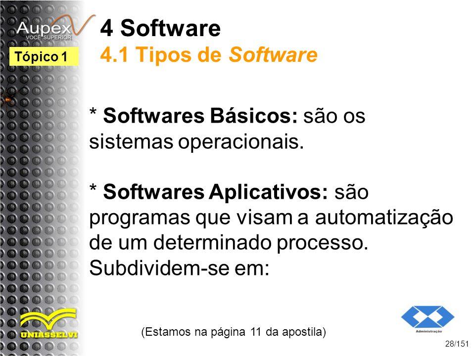 4 Software 4.1 Tipos de Software * Softwares Básicos: são os sistemas operacionais. * Softwares Aplicativos: são programas que visam a automatização d