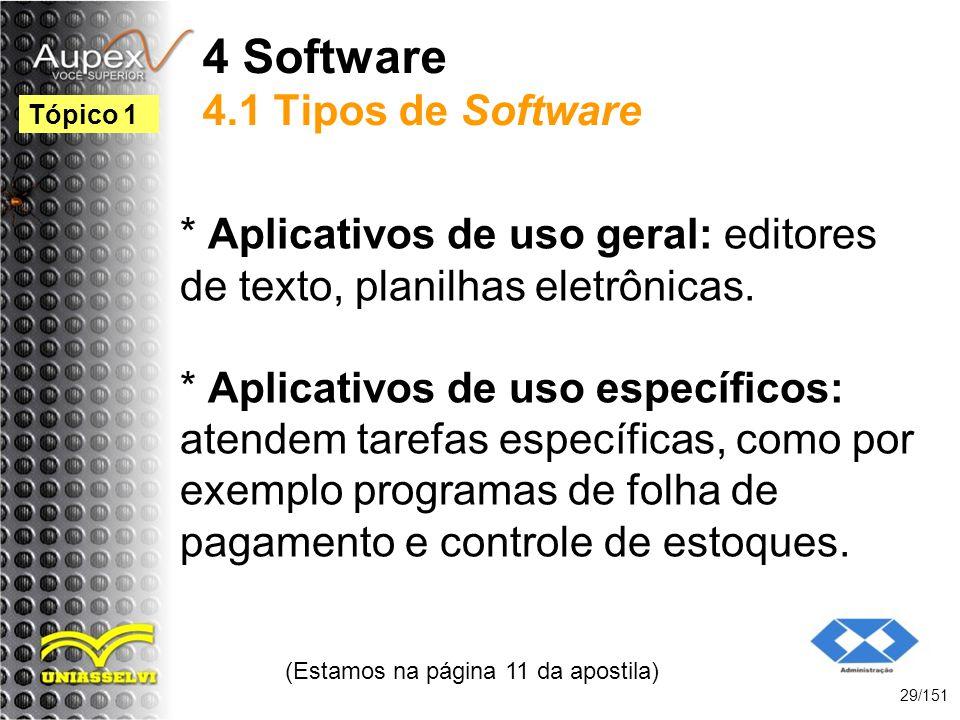 4 Software 4.1 Tipos de Software * Aplicativos de uso geral: editores de texto, planilhas eletrônicas. * Aplicativos de uso específicos: atendem taref