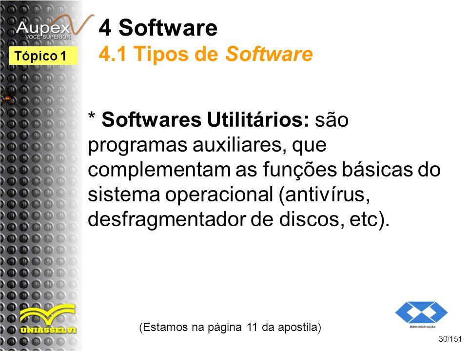 4 Software 4.1 Tipos de Software * Softwares Utilitários: são programas auxiliares, que complementam as funções básicas do sistema operacional (antiví
