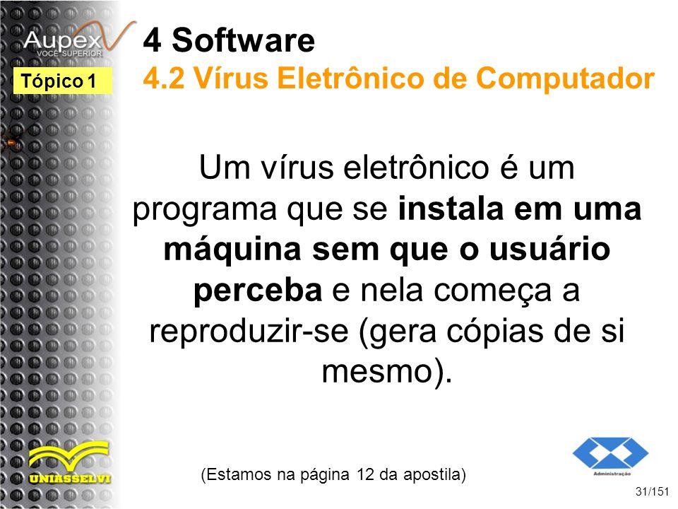 4 Software 4.2 Vírus Eletrônico de Computador Um vírus eletrônico é um programa que se instala em uma máquina sem que o usuário perceba e nela começa