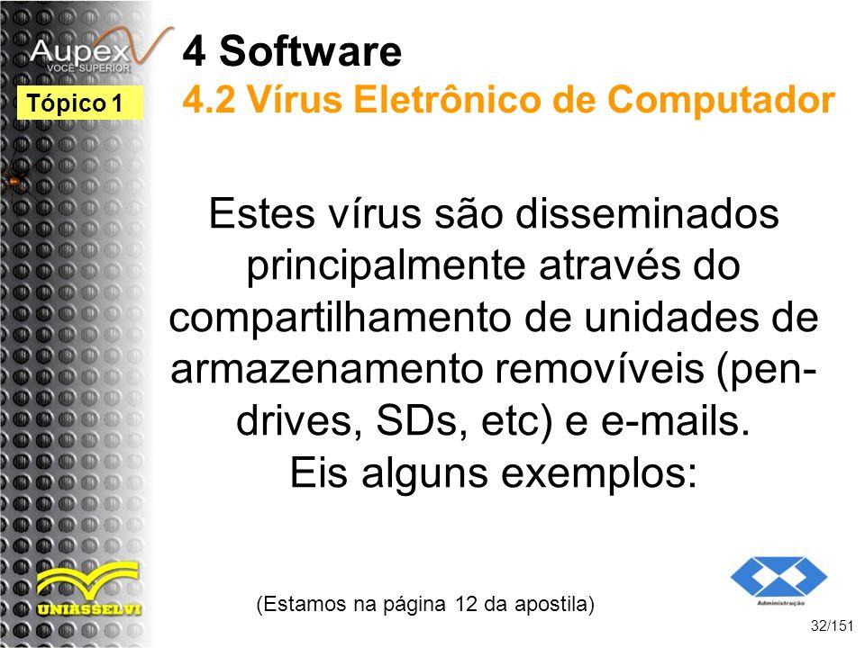 4 Software 4.2 Vírus Eletrônico de Computador Estes vírus são disseminados principalmente através do compartilhamento de unidades de armazenamento rem