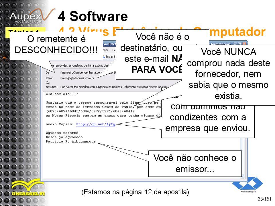 4 Software 4.2 Vírus Eletrônico de Computador (Estamos na página 12 da apostila) 33/151 Tópico 1 Você não é o destinatário, ou seja, este e-mail NÃO É