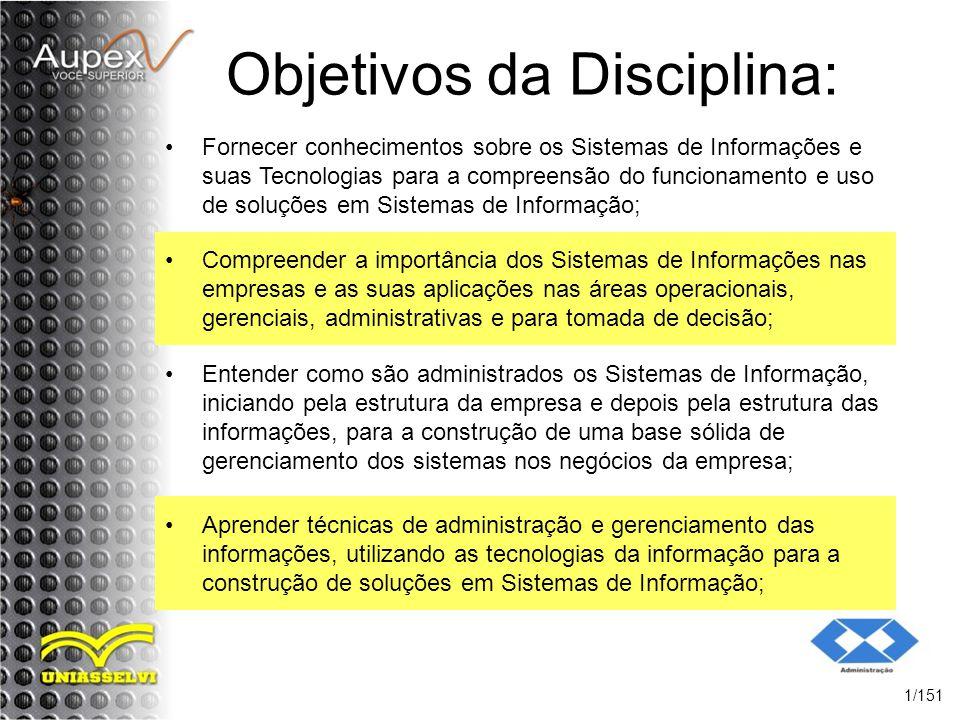 Objetivos da Disciplina: Fornecer conhecimentos sobre os Sistemas de Informações e suas Tecnologias para a compreensão do funcionamento e uso de soluç