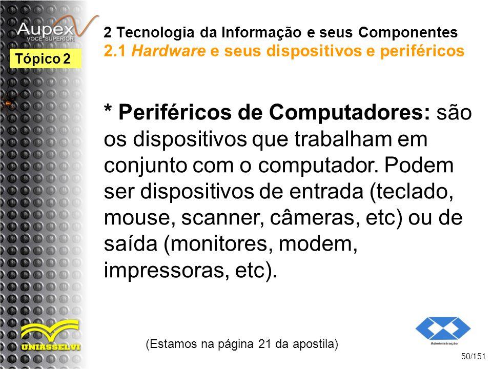 2 Tecnologia da Informação e seus Componentes 2.1 Hardware e seus dispositivos e periféricos * Periféricos de Computadores: são os dispositivos que tr