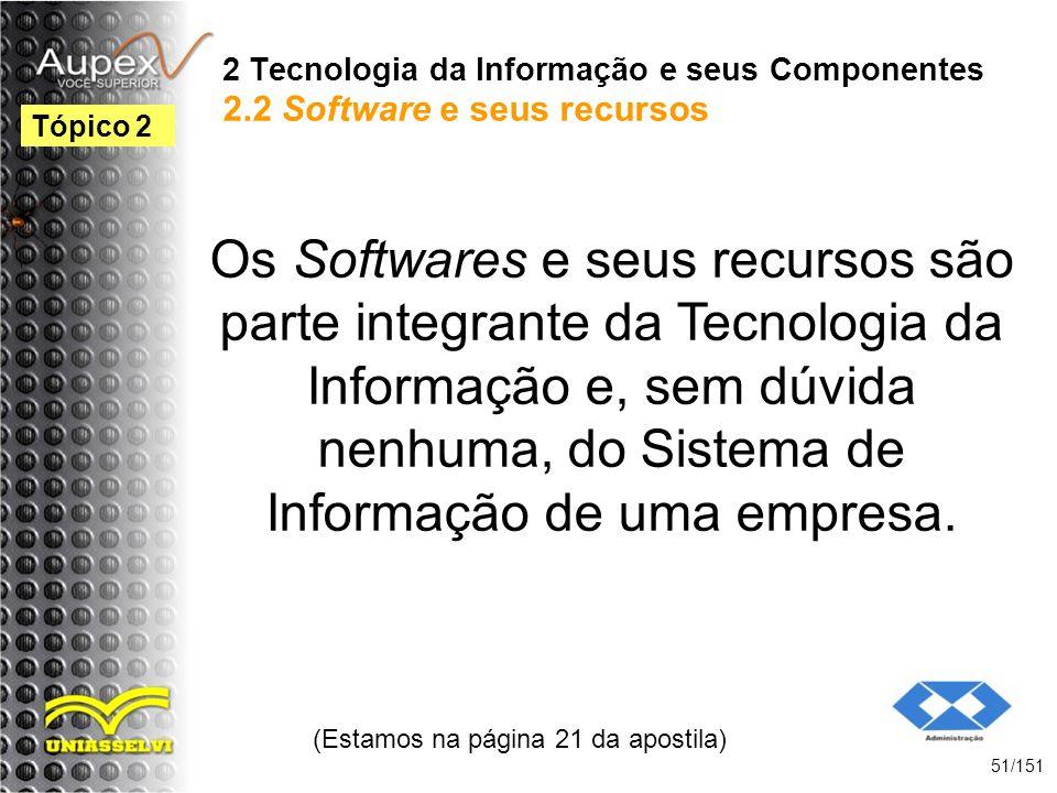 2 Tecnologia da Informação e seus Componentes 2.2 Software e seus recursos Os Softwares e seus recursos são parte integrante da Tecnologia da Informaç