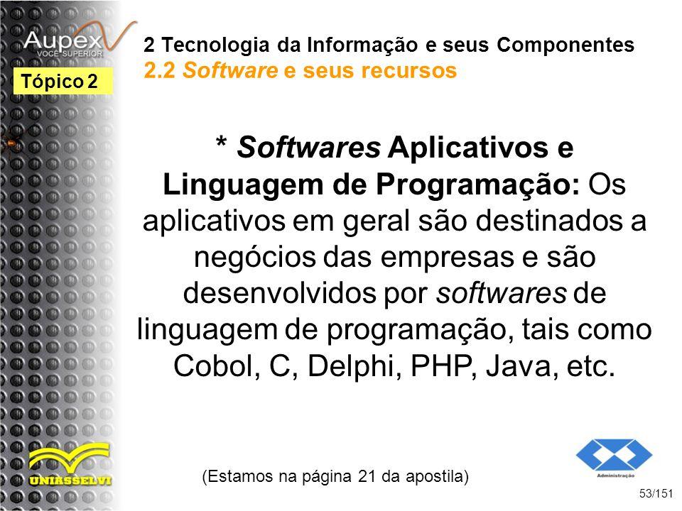 2 Tecnologia da Informação e seus Componentes 2.2 Software e seus recursos * Softwares Aplicativos e Linguagem de Programação: Os aplicativos em geral