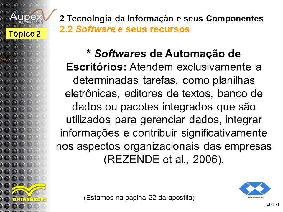 2 Tecnologia da Informação e seus Componentes 2.2 Software e seus recursos * Softwares de Automação de Escritórios: Atendem exclusivamente a determina