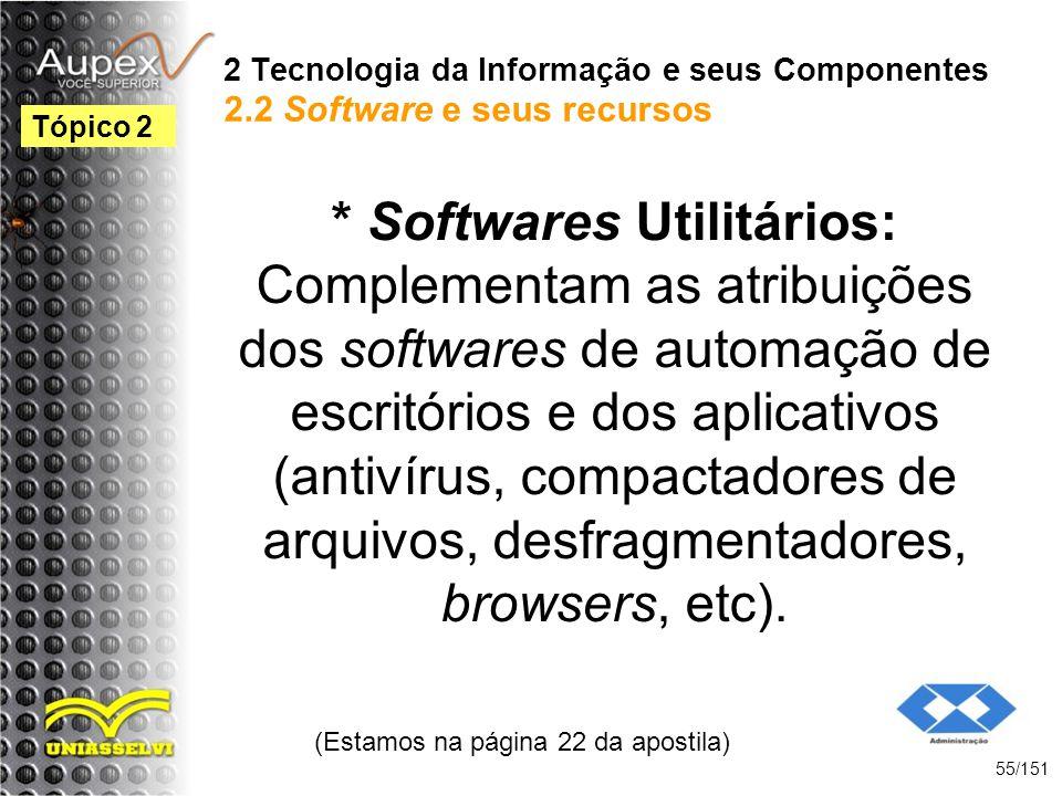 2 Tecnologia da Informação e seus Componentes 2.2 Software e seus recursos * Softwares Utilitários: Complementam as atribuições dos softwares de autom