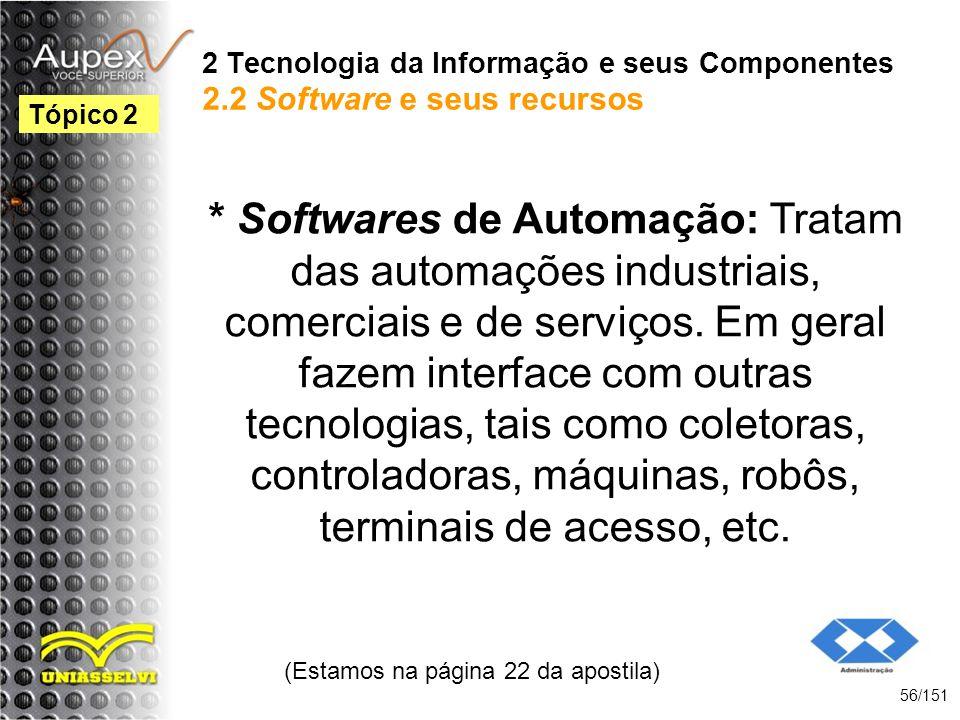2 Tecnologia da Informação e seus Componentes 2.2 Software e seus recursos * Softwares de Automação: Tratam das automações industriais, comerciais e d