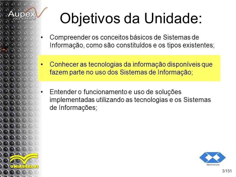 Objetivos da Unidade: Compreender os conceitos básicos de Sistemas de Informação, como são constituídos e os tipos existentes; 3/151 Conhecer as tecno