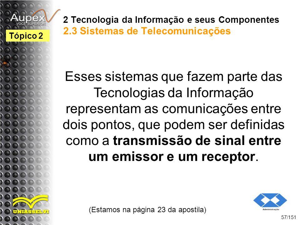2 Tecnologia da Informação e seus Componentes 2.3 Sistemas de Telecomunicações Esses sistemas que fazem parte das Tecnologias da Informação representa