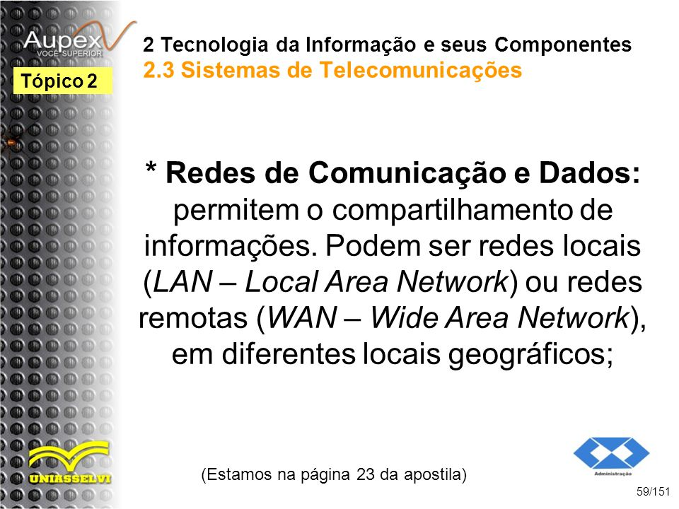 2 Tecnologia da Informação e seus Componentes 2.3 Sistemas de Telecomunicações * Redes de Comunicação e Dados: permitem o compartilhamento de informaç
