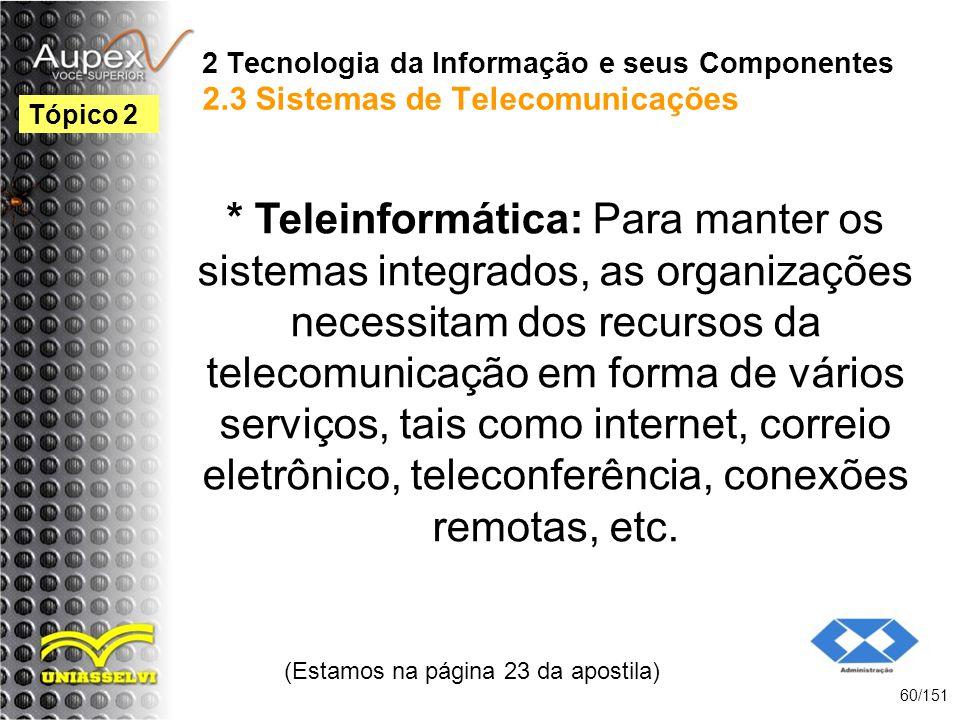 2 Tecnologia da Informação e seus Componentes 2.3 Sistemas de Telecomunicações * Teleinformática: Para manter os sistemas integrados, as organizações