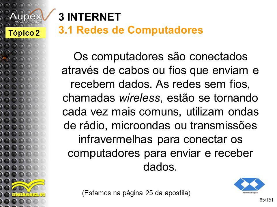 3 INTERNET 3.1 Redes de Computadores Os computadores são conectados através de cabos ou fios que enviam e recebem dados. As redes sem fios, chamadas w