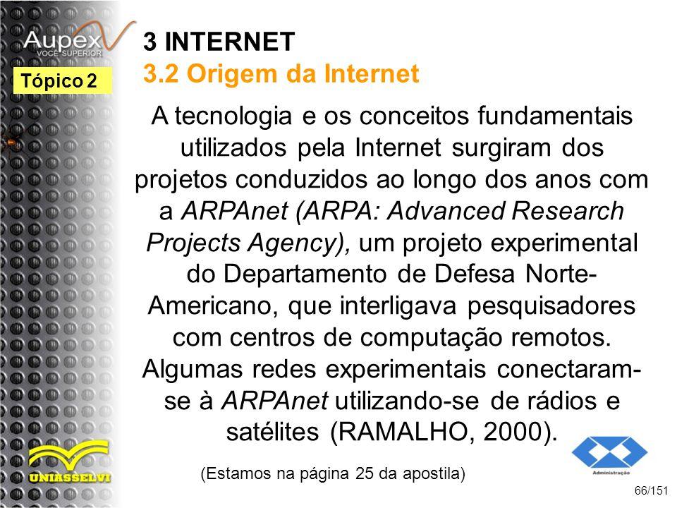 3 INTERNET 3.2 Origem da Internet A tecnologia e os conceitos fundamentais utilizados pela Internet surgiram dos projetos conduzidos ao longo dos anos