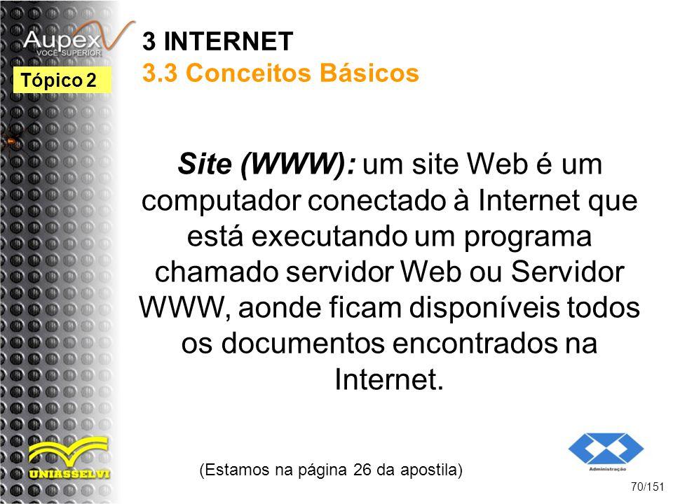 3 INTERNET 3.3 Conceitos Básicos Site (WWW): um site Web é um computador conectado à Internet que está executando um programa chamado servidor Web ou