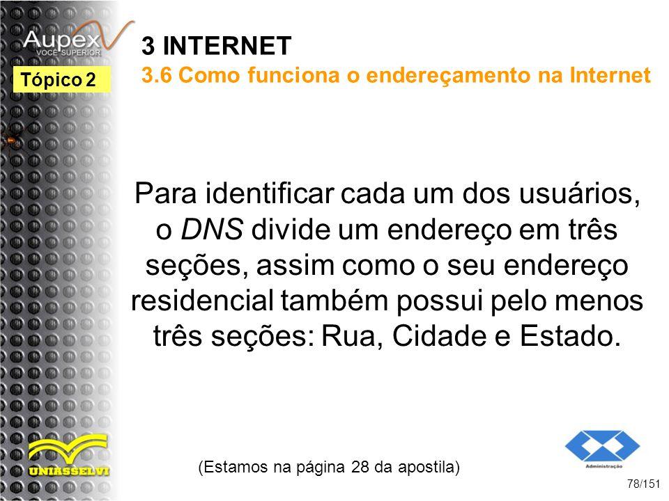 3 INTERNET 3.6 Como funciona o endereçamento na Internet Para identificar cada um dos usuários, o DNS divide um endereço em três seções, assim como o