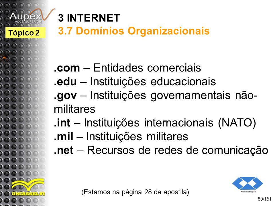 3 INTERNET 3.7 Domínios Organizacionais.com – Entidades comerciais.edu – Instituições educacionais.gov – Instituições governamentais não- militares.in