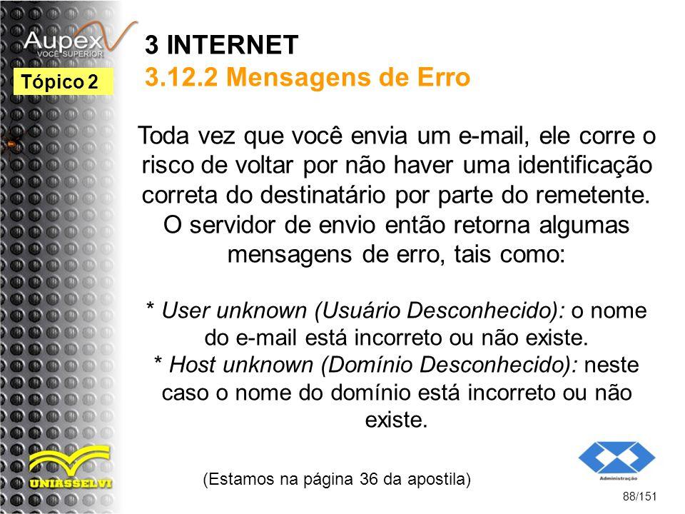 3 INTERNET 3.12.2 Mensagens de Erro Toda vez que você envia um e-mail, ele corre o risco de voltar por não haver uma identificação correta do destinat