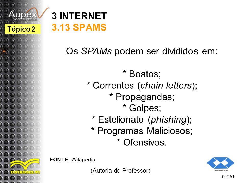 3 INTERNET 3.13 SPAMS Os SPAMs podem ser divididos em: * Boatos; * Correntes (chain letters); * Propagandas; * Golpes; * Estelionato (phishing); * Pro