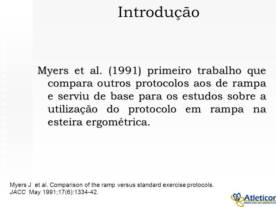 Myers et al. (1991) primeiro trabalho que compara outros protocolos aos de rampa e serviu de base para os estudos sobre a utilização do protocolo em r