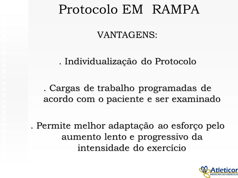 VANTAGENS:. Individualização do Protocolo. Cargas de trabalho programadas de acordo com o paciente e ser examinado. Permite melhor adaptação ao esforç