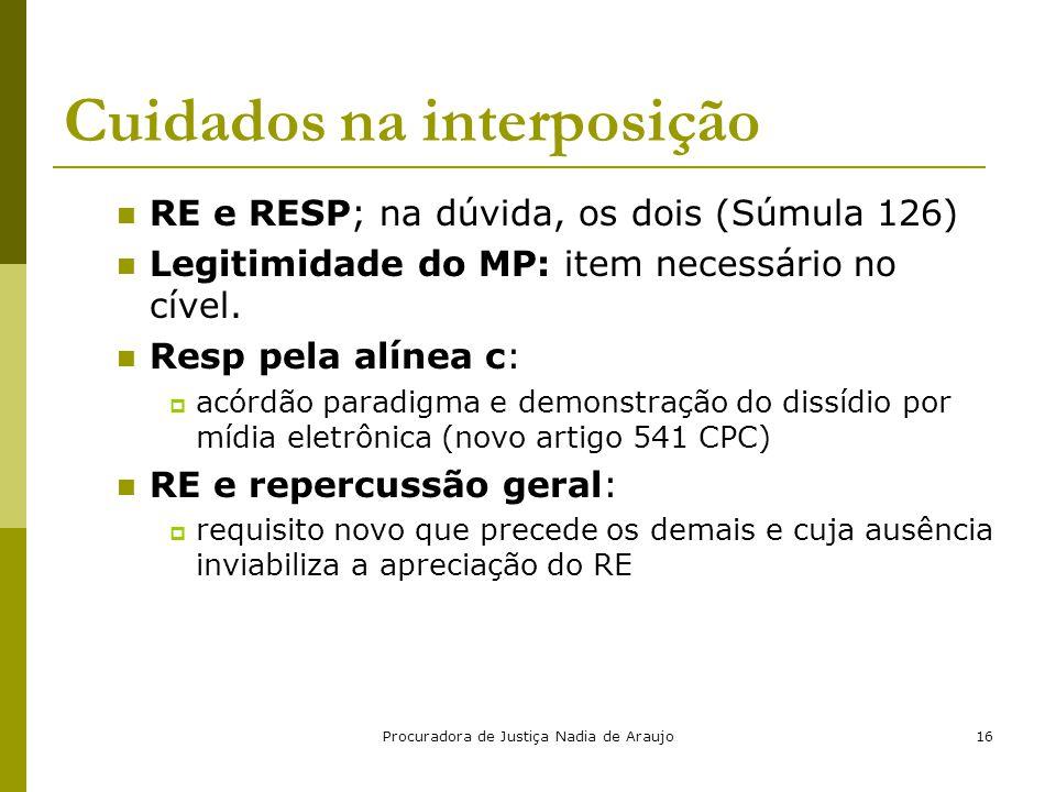 Procuradora de Justiça Nadia de Araujo16 Cuidados na interposição RE e RESP; na dúvida, os dois (Súmula 126) Legitimidade do MP: item necessário no cí