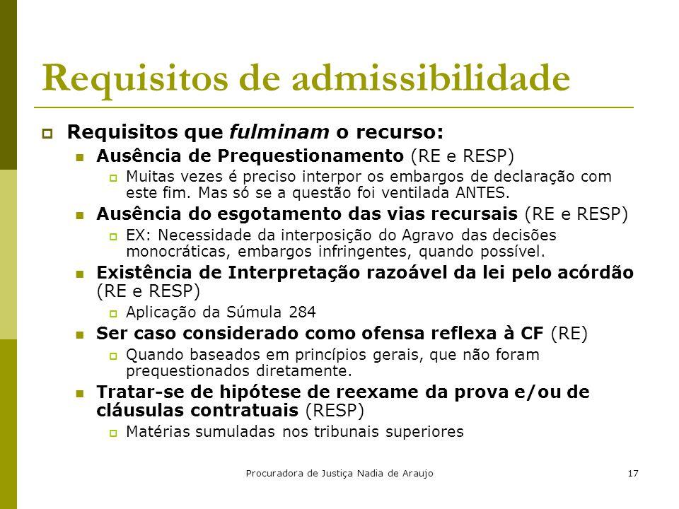 Procuradora de Justiça Nadia de Araujo17 Requisitos de admissibilidade  Requisitos que fulminam o recurso: Ausência de Prequestionamento (RE e RESP)