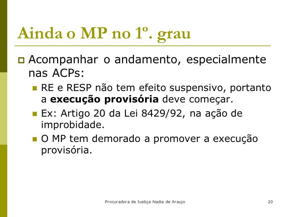 Procuradora de Justiça Nadia de Araujo20 Ainda o MP no 1º. grau  Acompanhar o andamento, especialmente nas ACPs: RE e RESP não tem efeito suspensivo,